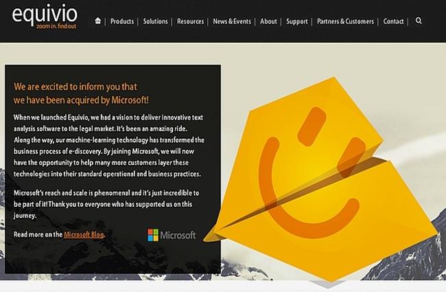 Kabar yang menyatakan telah terjadi akuisisi antara Microsoft Corp dengan Equivio yang dimuat di laman Equivio.com - yuridis.com/arsip